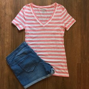 Old Navy Pink & White Striped V-Neck T-Shirt